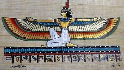 Egyptian Papyrus, Isis goddess of marriage & Wisdom, 12x16 Cm Hand Painted-