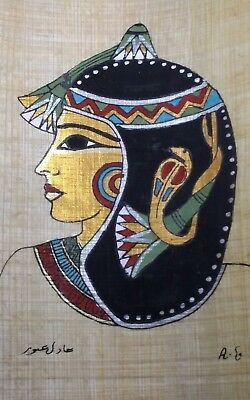 Egyptian Papyrus, Queen Cleopatra 12x16 Cm, Hand Painted-