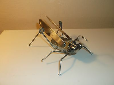 Grasshopper Metal Sculpture, metal garden art, yard art, figurine