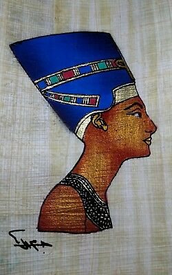 Egyptian Papyrus, Queen Nefertiti, 12x16 Cm, Hand Painted-