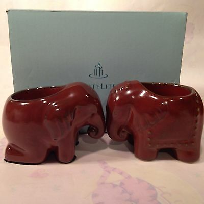 PARTYLITE THAI ELEPHANT P9173 TEALIGHT CANDLE HOLDERS Set of 2 NEW in BOX