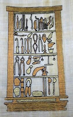 Egyptian Papyrus, Pharaoh's Tools 12x16 Cm Hand Painted-