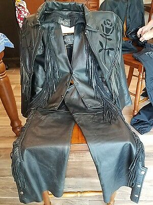 MOB Ladies Leather Motorcycle Outfit - Jacket, Vest, and Chaps, *FREE SHIPPING*