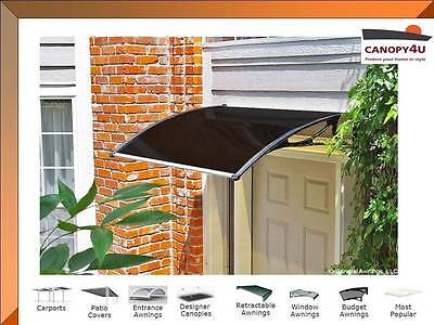 Byron Window Awning Door Canopy  1.2 x 0.8m Premium Tinted Cover- Black Brackets