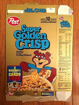 "1992 (Post) ""SUPER GOLDEN CRISP"" Cereal Box, (Featuring Baseball Cards), RARE!"