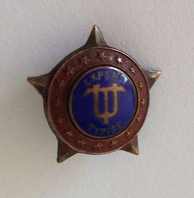 Expert Typist Authentic Small Old Pin Badge Rare Music (N9)