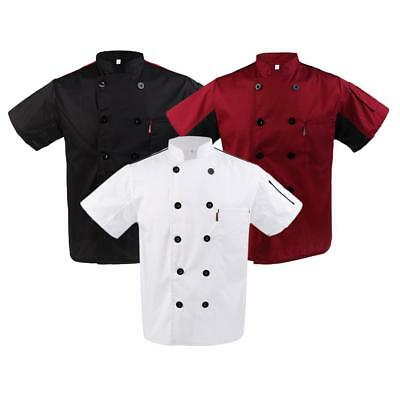 Mens Womens Chef Apparel Mesh Sleeve Chef Coat Cooker Catering Jacket Uniform