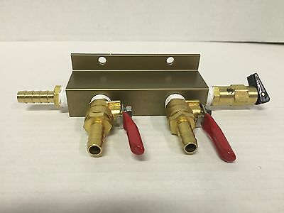 2-Way CO2 Distribution w/ Shut Off And Safety Valve - Kegerator Air Regulator