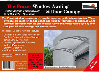 Frazer Window Awning Door Canopy Cover 1m Clear Cover- Grey Brackets