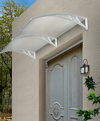 Outdoor Window Awning Cover Canopy The Hamilton 3000x1200mm White w/Clear Cover