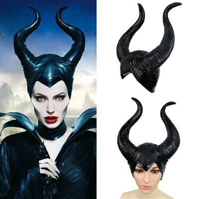 Latex Maleficent Horns Evil Black Queen Hat Headpiece Cosplay Headwear_Halloween