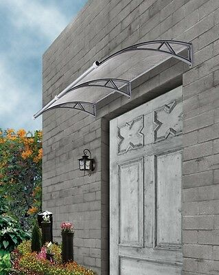 Outdoor Window Awning Cover 2m x 1m with Rain Gutter Clear Cover-Grey Brackets