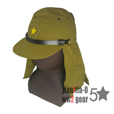 Repro WW2 Japanese Military Soldier Field Hat Black Strap Cap Havelock Neck Flap