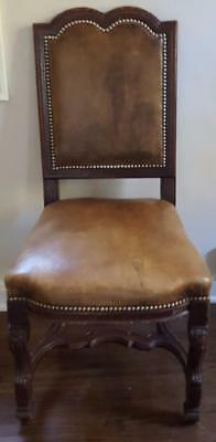 Wonderful Early 20th Century Side Chair - GREAT LEATHER UPHOLSTERY - CARVED NICE