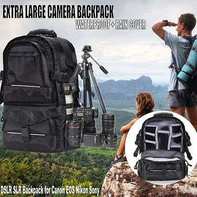 Shockproof Camera Backpack Bag Case for Canon Nikon Sony DSLR w/ Rain Cover BLK