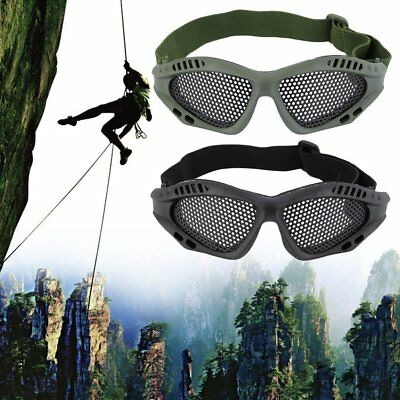 Durable Outdoor Eye Protective Safety Tactical Metal Mesh Glasses Goggle KK