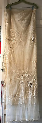 Vintage Antique Lace Tulle Embroidered Veil Coverlet Curtain Ecru 80 x 100