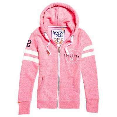 Sweat Superdry femme track field zip rose