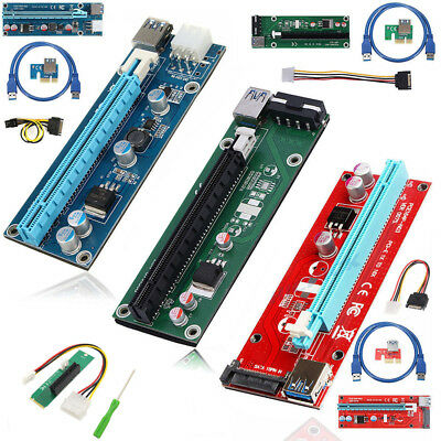Set BTC Riser Card USB 3.0 PCI-E Express 1x To 16x Extender Adapter Power Cable