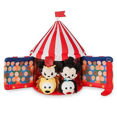 Disney Store Mickey Mouse Circus Tent Plush and 4 Micro 2.5 Tsum Tsums Set