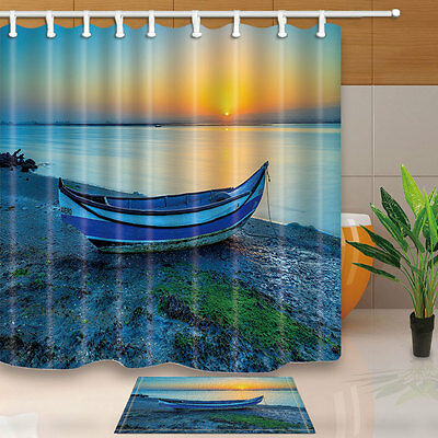The old fishing boat at the seaside Shower Curtain Bedroom Fabric & 12 Hooks