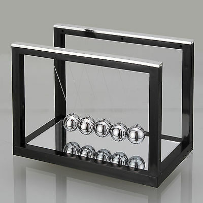 Black Newtons Cradle Steel Balance Ball Physics Science Toy Accessory Gift L New