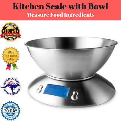5KG Stainless Steel Kitchen Scale with 2.5 L Bowl