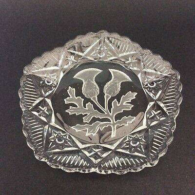 VINTAGE GLASS PIN DISH PLATE SCOTTISH THISTLE Pentangle Decorative Collectable