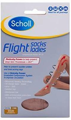 Scholl LADIES Flight Socks NATURAL - Size Womens AU 8-10 (EU 39-42) - DVT