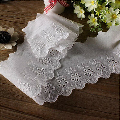 3yds Broderie Anglaise Cotton Eyelet Lace Trim 10cm Applique Fabric Sewing Craft