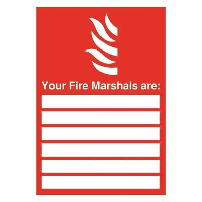 Safety Sign Your Fire Marshals A4 PVC FR09850R [SR11172]