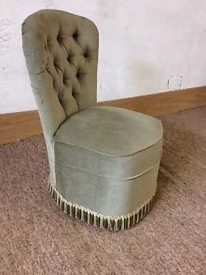 Vintage Green Fabric Covered Bedroom Chair With Button Back & Fringing Detail