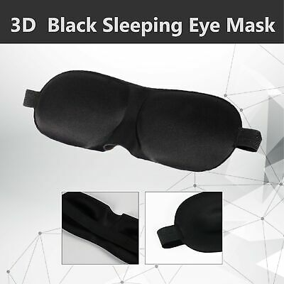 2x 3D Black Sleeping Eye Mask Blindfold Earplugs Shade Relax Sleep Cover Light