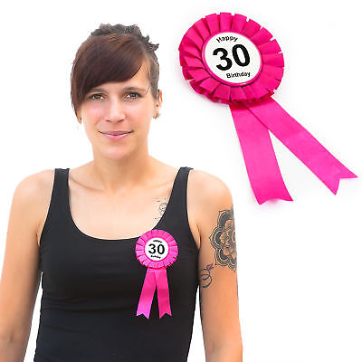 30. Geburtstag Birthday Button Brosche Pink Happy Birthday Feier