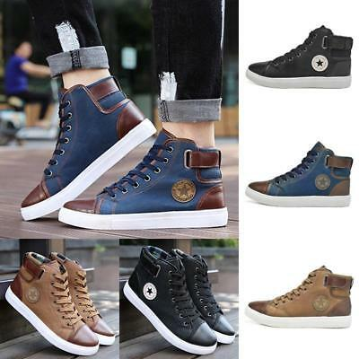 Stylish Sneakers Mens Shoes Lace Up High Top Sport Boots PU Leather Comfort LH