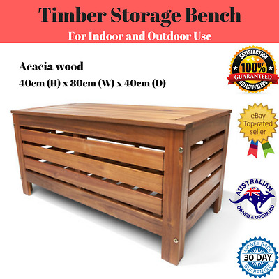 Acacia Hardwood Timber Wood Outdoor Storage Chest Box Bench Seat Chair Stow Rest