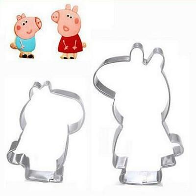 Set of 2 Peppa Pig Biscuit Cookie Party Molds Cutters Metal Cake Cutting Moulds