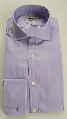 T M Lewin Luxury Slim Fit Lilac Herringbone Shirt Cotton  14.5-19 Bnwot