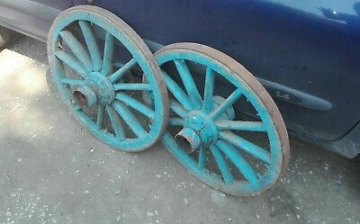 Set of 2 vintage old wooden cart wagon wheel wheels 64cm FREE DELIVERY