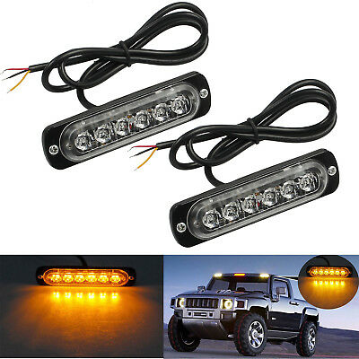 2 x AMBER CREE 6 LED RECOVERY STROBE FLASHING LIGHT GRILL BREAKDOWN LAMP 12V/24V