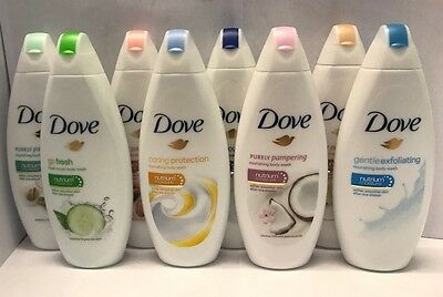 6 X Dove Body Wash / Shower Gel Nutrium Moisture Softer Skin 250ml 10 Types