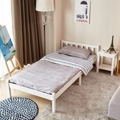 Single/Double Bed White/ Beech 3ft / 4FT6 Bed Wooden Frame Pine Wood Bedroom