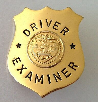 Driver Examiner Gold Style Shield LARGE Pin Badge Rare Authentic (N9)