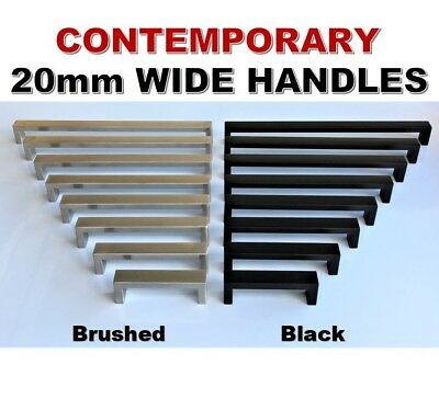 Stainless Steel Kitchen Cabinet Door Drawer Handles Square 20mm Pulls Black