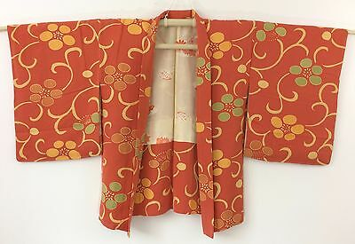 Authentic Japanese orange silk haori jacket for kimono, M, Japan import (I1606)