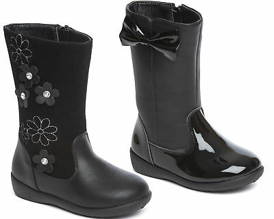 Girls Boots Black Zip Up Casual Floral Bow School Faux Leather Mid Calf