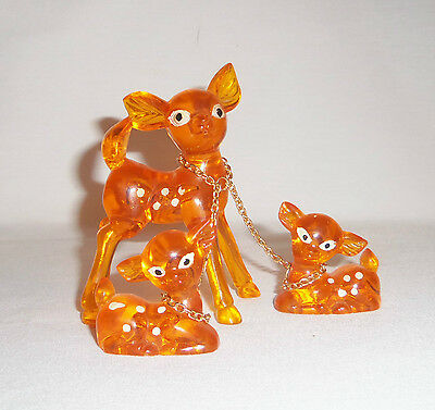 Vintage Acrylic Deer or Reindeer With Two Fawns Attached With Chain