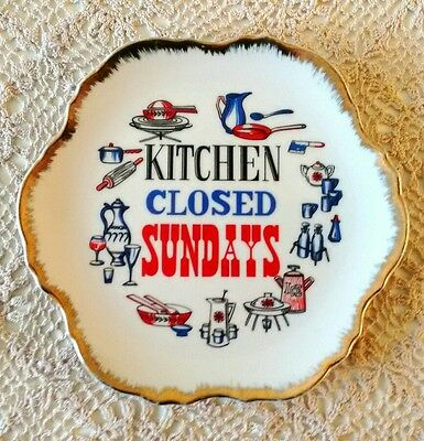 Kitched Closed Sundays Decorative Hanging Plate Funny Vintage Retro Kitsch Japan