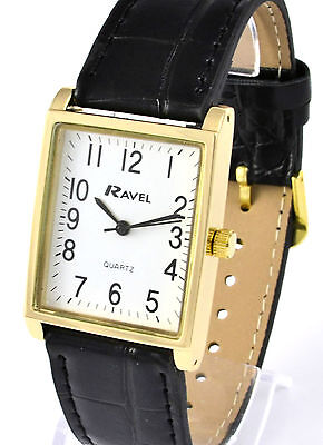 Ravel Mens or Ladies Classic Rectangular Dial Watch with Black Strap, Gold Tone