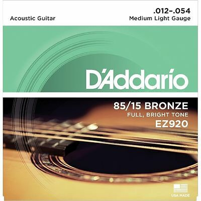 D'addario EZ920 85/15 Bronze Acoustic Guitar Strings Medium Light 12-54